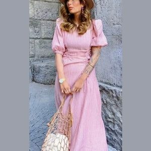 ZARA MIDI DRESS WITH GATHERED WAIST PINK 4786/056